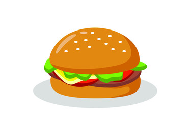 Flat vector image of a Burger on a white background