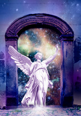 Wall Mural - angel archangel standing in divine Paradise gate like mystical religious spiritual concept