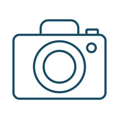 High quality dark blue outlined photo camera icon. Pictogram, technology, object. Useful for web site, banner, greeting cards, apps and social media posts.