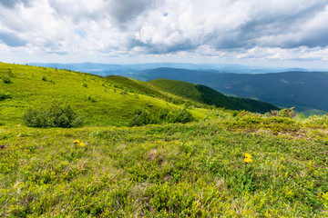 green meadows in mountains with clouds on the sky. wonderful summer nature landscape of carpathians. great travel scenery