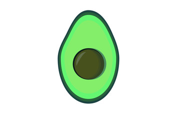 Vector flat image of an avocado on a white background
