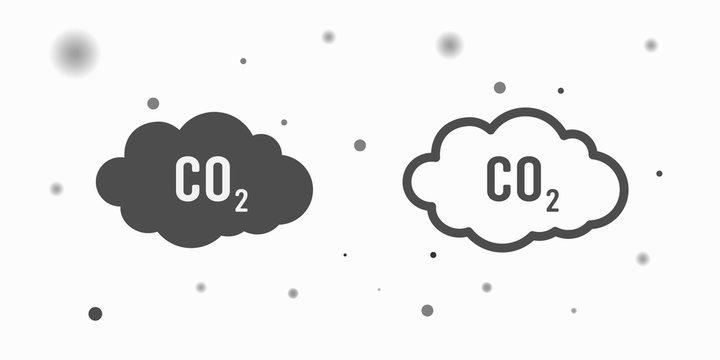co2 emissions icon cloud vector flat, carbon dioxide emits symbol, smog pollution concept, smoke pollutant damage, contamination bubbles, garbage label