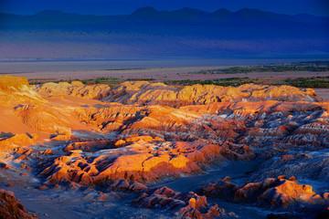 Acrylic Prints Coral Extreme terrain of the Death valley in Atacama desert at sunset at San Pedro de Atacama, Chile.
