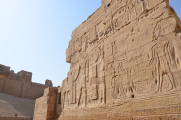 The Temple of Edfu is an Egyptian temple located on the west bank of the Nile in Edfu, Upper Egypt. It's considered to be one of the most beautiful and preserved Temples in Egypt.