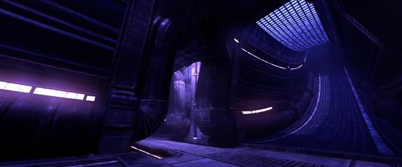 Fotomurales - Futuristic city street. Neon lights on a wall of futuristic buildings. Gloomy cyberpunk landscape. 3D illustration. Dark industrial scene.