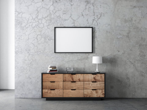 Horizontal black poster Frame Mockup hanging on the wall in modern living room above commode