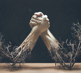 Two Hands Made of Branches