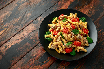 Healthy Creamy Hummus pasta with mushroom and roast tomatoes. vegan vegetarian, plant based.
