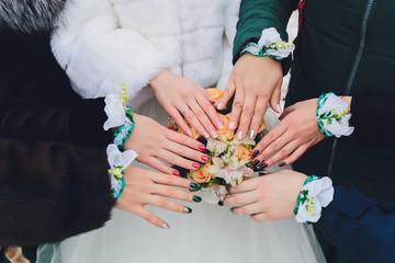 beautiful wedding bride's bouquet. vintage toned picture.