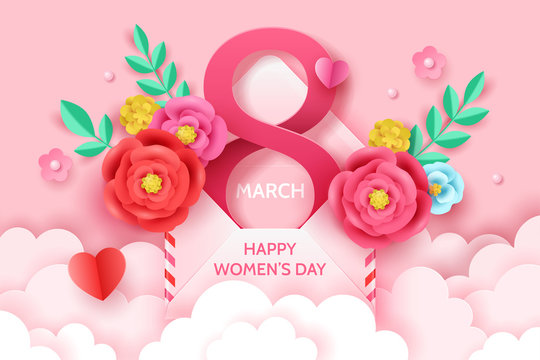 8 March International women's day banner template for social media advertising, invitation or poster design with paper art cut flowers.