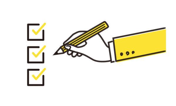 チェックイメージとペンを持つ手のイラスト