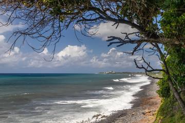 Pebble, gravel beach at Sainte Suzanne on Reunion island, France,