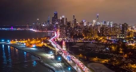 Fototapete - Chicago downtown buildings skyline aerial hyperlapse timelapse