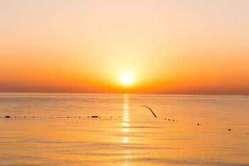 Beautiful golden sunrise over the horizon on the Mediterranean Sea in Turkey, Kemer