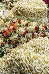 Flowers and garlands for sale at Flower market in Mallick Ghat. Kolkata. India
