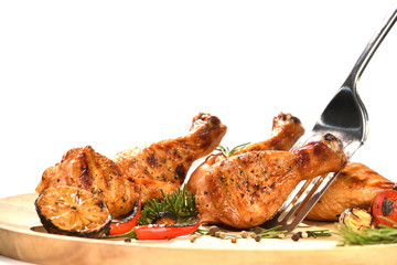 Wall Mural - Grill roast bbq chicken leg and vegetable isolated on white background
