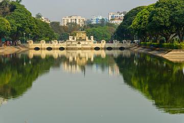 Monument in Victoria Memorial garden in Kolkata