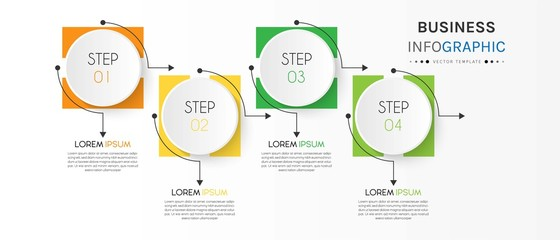 Business infographic element with 4 options, steps, number vector template design