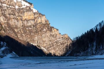 Frozen klontalersee lake near Glarus, Switzerland