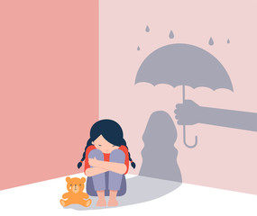 Fototapeta Sad little girl with teddy bear sitting on floor, shadow on the wall is a hand with umbrella protects her. Child abuse, violence against children concept design.  obraz