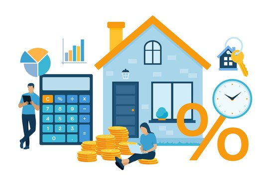 Mortgage concept. House loan or money investment to real estate. Property money investment contract. Family Buying Home. Man calculates home mortgage rate. Vector illustration with characters.