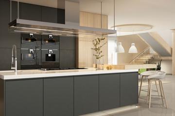 Modern kitchen interior in black colors Papier Peint