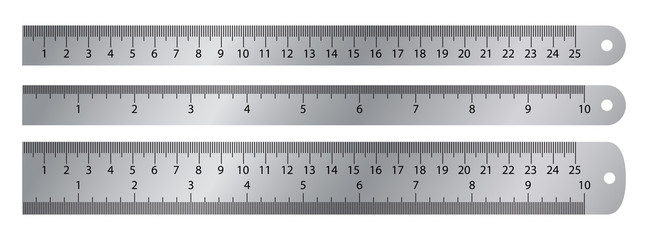 Realistic metal ruler. Vector markup for 10 inches and 25 centimeters rulers. Realistic metal ruler measuring tool. Metric precision double-sided measuring instrument