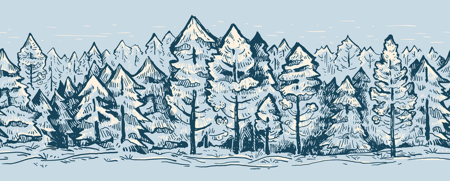 Coniferous vector sketch border pattern. Fir trees in gray color.