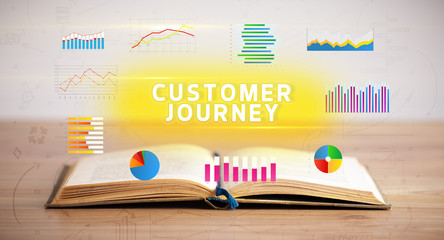Open book with CUSTOMER JOURNEY inscription, new business concept