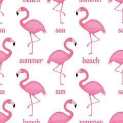 Canvas Prints Flamingo Cute flamingo seamless pattern vector background. An animal illustration with pink, yellow and black colors on isolated white layer. For children fabric, cloth, backdrop, wallpaper, Printable Eps 10 f