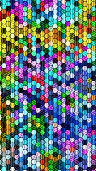 Colorful and shiny hexagonal patterned & textured background.