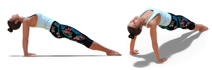 In de dag Ontspanning Back and Right Profile Poses of a virtual Woman in Yoga Upward Plank Pose