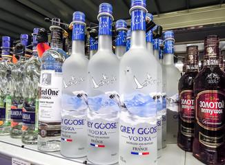 Grey Goose vodka ready for sale on the shelf
