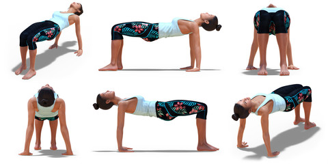 In de dag Ontspanning Virtual Woman in Yoga Table Pose with 6 angles of view