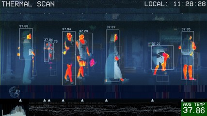 Obraz 3D illustration of international passengers infrared thermal scan imaging camera on immigration and entry after landing. conceptual security and medica health diagnosis quarantine precaution measuring - fototapety do salonu