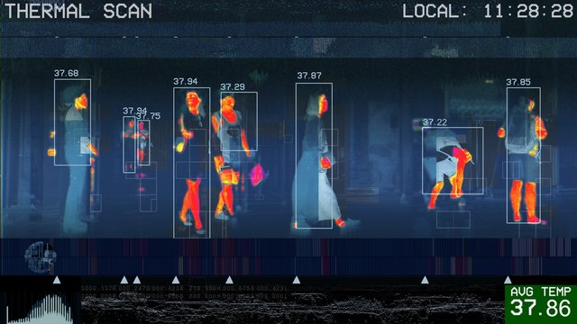 3D illustration of international passengers infrared thermal scan imaging camera on immigration and entry after landing. conceptual security and medica health diagnosis quarantine precaution measuring