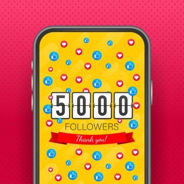 5000 followers, Thank You, social sites post on smartphone. Thank you followers congratulation card. Vector stock illustration
