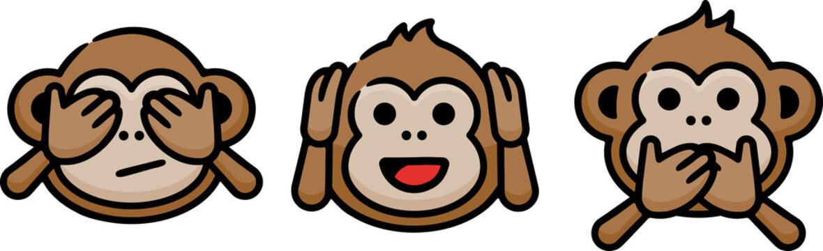 Three Wise Monkeys Doodle Sketch Icon