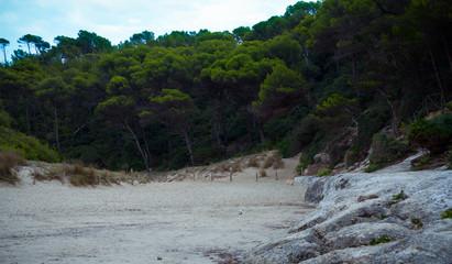 Cala Mitjana beach in Menorca Ciutadella at Balearic Islands