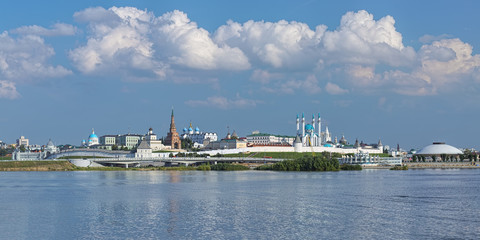 Kazan, Russia. View of Kazan Kremlin with Presidential Palace, Soyembika Tower, Annunciation Cathedral, Qolsharif Mosque, Spasskaya Tower. Outside Kremlin: Palace of Farmers, Kazan Cathedral, Circus.