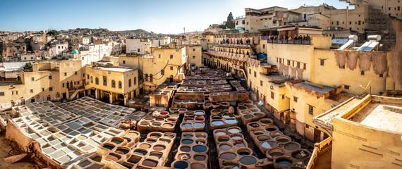 Foto op Canvas Marokko Ledergerberei Fes, Marokko