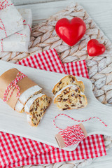 Traditional Christmas festive pastry dessert on wooden background.