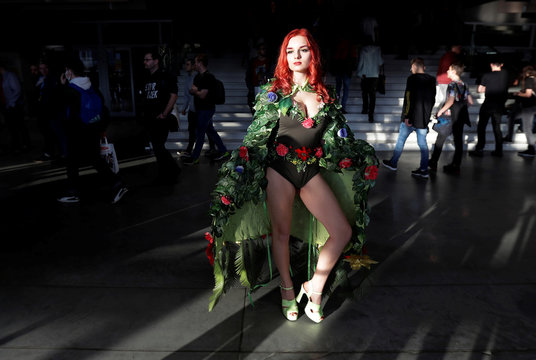A participant dressed up in a costume attends the 2020 Prague Comic Con in Prague