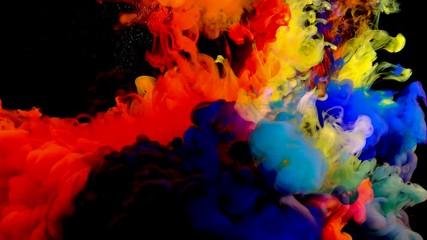 Fototapete - 4K , Color paint drops in water , abstract color mix , drop of Ink color mix paint falling on water Colorful ink in water, 4K footage,
