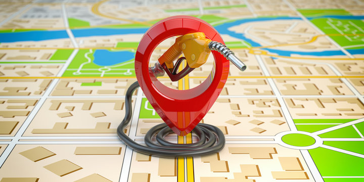 Gas station point location. Gasoline pistol pump fuel nozzle on city map.