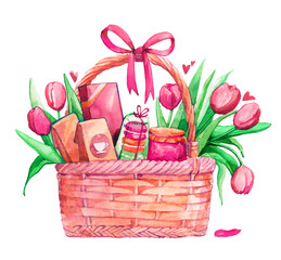 holiday basket gift sweets flowers spring tulips mother's day mother's day bow watercolor isolated pink