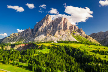 Wall Mural - Aerial view of Passo delle Erbe at sunset, Dolomites, Europe