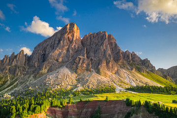 Wall Mural - Passo delle Erbe at sunset, aerial view, Dolomites, Europe