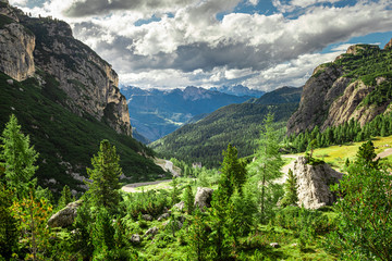 Wall Mural - Green passo Falazarego in Dolomites, Italy, Aerial view