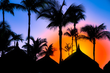 Wall Mural - Colorful Caribbean graphic image with vibrant sky and silhouettes of palm trees and grass huts